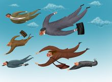 Businessmen are flying in the sky Stock Photography