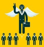Businessmen flying with a wings Stock Image