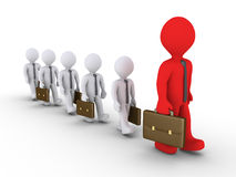 Businessmen following the big leader. 3d businessmen are following a bigger one Royalty Free Stock Images