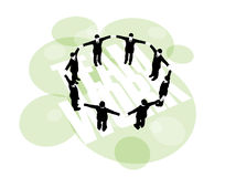 Businessmen form a secure ring by holding hands. 3D illustration of businessmen forming a secure ring by holding hands Stock Photography