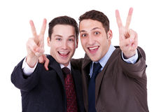 Businessmen gesturing victory Stock Image