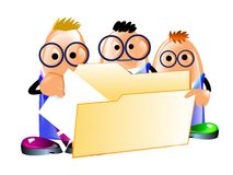 Businessmen get a document from a folder. Illustration of three funny clerks businessmen put a document to a folder. Isolated on a white royalty free illustration