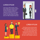 Businessmen get golden trophy. Workers raised in the elevator. To the next level. Cartoon poster vector illustration set. Banners for your web design in Royalty Free Stock Photography
