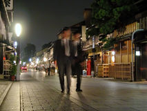 Businessmen in Gion. A night street aspect in Gion Stock Photos