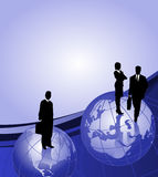 Businessmen on Globes. Background with businessman silhouettes on world globes and space for text Royalty Free Stock Image