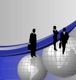 Businessmen on Globes. Background with businessman silhouettes on world globes and space for text vector illustration