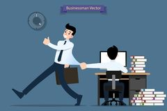 Businessmen is going back home after work by walk but the other one who not finish pull and hold the first one shirt. royalty free illustration
