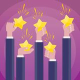 Businessmen with gold stars rating. Appreciation and recognition. Praise and the highest reward. Competitions, lottery and gambling vector illustration