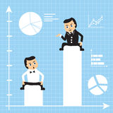 Businessmen on growing charts Royalty Free Stock Photo