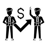 Businessmen growth up graph icon, vector illustration, black sign on isolated background Royalty Free Stock Photo