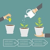 Businessmen hand Financial growth concept. Three. Steps. Business infographic. Flat design Vector illustration Royalty Free Stock Images