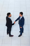 Businessmen Hand Shake Welcome Gesture Top Angle View, Two Business men Make Deal Handshake Sign Up Stock Images