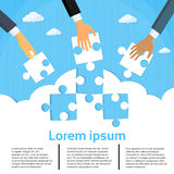 Businessmen Hands Putting Puzzle Pieces Teamwork stock illustration