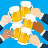 Businessmen Hands Toasting. Multicultural businessmen hands toasting holding beer on party celebration Stock Photography