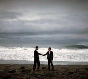 Businessmen Handshake Beach Partnership Agreement Concept Stock Photos