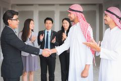 Businessmen handshake and business executives to achievement new. Project stock image