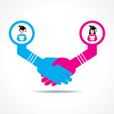 Businessmen handshake between educated men and women Stock Images