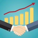 Businessmen handshake in flat design. Stock Images