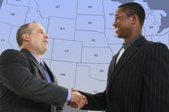 Free Businessmen Handshake In Front Of Blue US State Map Stock Images - 208734