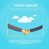 Businessmen Handshake Laptop Screen, Online. Ecommerce Hands Shake Deal Business Internet Connections Flat Design Vector Illustration royalty free illustration