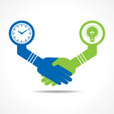 Businessmen handshake between men having idea and time. Stock vector Stock Photo