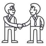 Businessmen handshake,partnership vector line icon, sign, illustration on background, editable strokes royalty free illustration