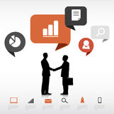Businessmen Handshake Technology Communication Concept Stock Photo