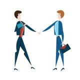 businessmen handshake two 导航在平的样式的例证,隔绝在白色 库存图片