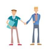 businessmen handshake two 导航在平的样式的例证,隔绝在白色 免版税库存照片