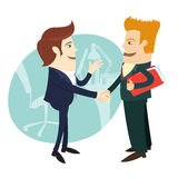 Businessmen handshaking and making a deal in front of their offi. Vector illustration Businessmen handshaking and making a deal in front of their office. Flat Stock Images