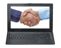 Businessmen handshaking on screen laptop isolated Royalty Free Stock Photo