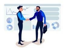 Businessmen handshaking after successful business meeting. Handshake financial partner for greeting. vector illustration