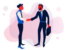 Businessmen handshaking after successful business meeting. Handshake financial partner for greeting. royalty free illustration