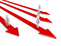 Businessmen have their own path. 3d businessmen are walking on their own arrows Royalty Free Stock Image