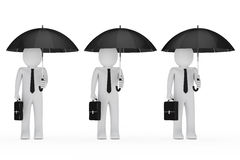 Businessmen hold black umbrella Stock Photography