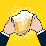 Businessmen holding beer mugs. Beer glasses foam clinking, meeting friends. stock illustration