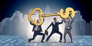 The businessmen holding giant key in finance concept. Businessmen holding giant key in finance concept Royalty Free Stock Photos