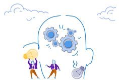 Businessmen holding light lamp human head silhouette gear wheels brainstorming process generate new idea teamwork. Concept horizontal sketch doodle vector vector illustration