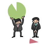 Businessmen holding pie chart Royalty Free Stock Images