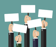 Businessmen holding signboard with the blank paper. Businessmen holding a signboard with the blank paper. A lot of hands hold placards. flat design, vector Stock Photography