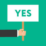 Businessmen holding a signboard with the word YES. Vector illustration in flat style isolated Royalty Free Stock Image