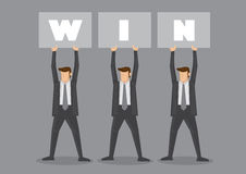 Businessmen Holding Up Win Placard Stock Image