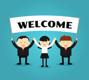 Businessmen holding welcome placard. Vector Royalty Free Stock Photos