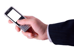 Businessmen holds mobile phone Stock Images