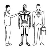 Businessmen with humanoid robot black and white. Businessmen with humanoid robot avatar cartoon character black and white vector illustration graphic design vector illustration