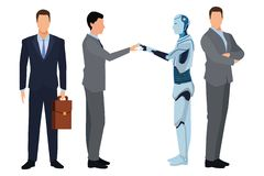 Businessmen with humanoid robot vector illustration