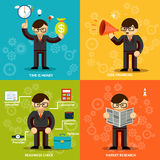 Businessmen Icons in Variety Colored Backgrounds Royalty Free Stock Image
