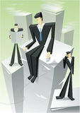 Businessmen illustration. Abstract illustration of businessmen in different poses and activities on tall stacks of paperwork with the appearance of skyscrapers Stock Photography