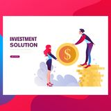 Businessmen insure their assets, investments and shares, shield. Template Landing page. Flyer, promotion, marketing material, online advertising, business vector illustration
