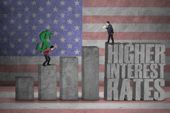 Businessmen with interest rates graph Stock Photo